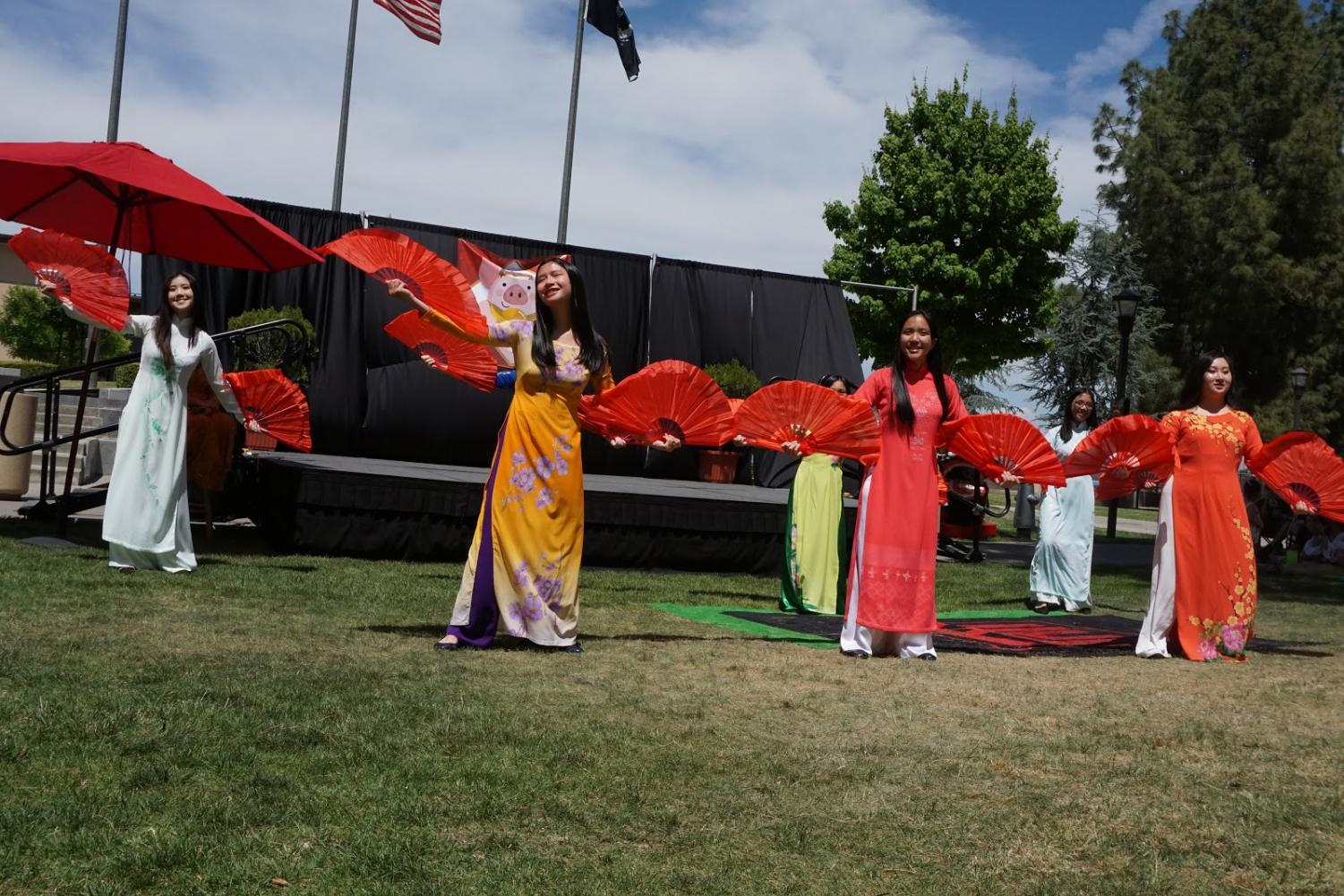 Bullard High School students perform a dance for the Asian Festival at the public speaking area on April 27, 2018.