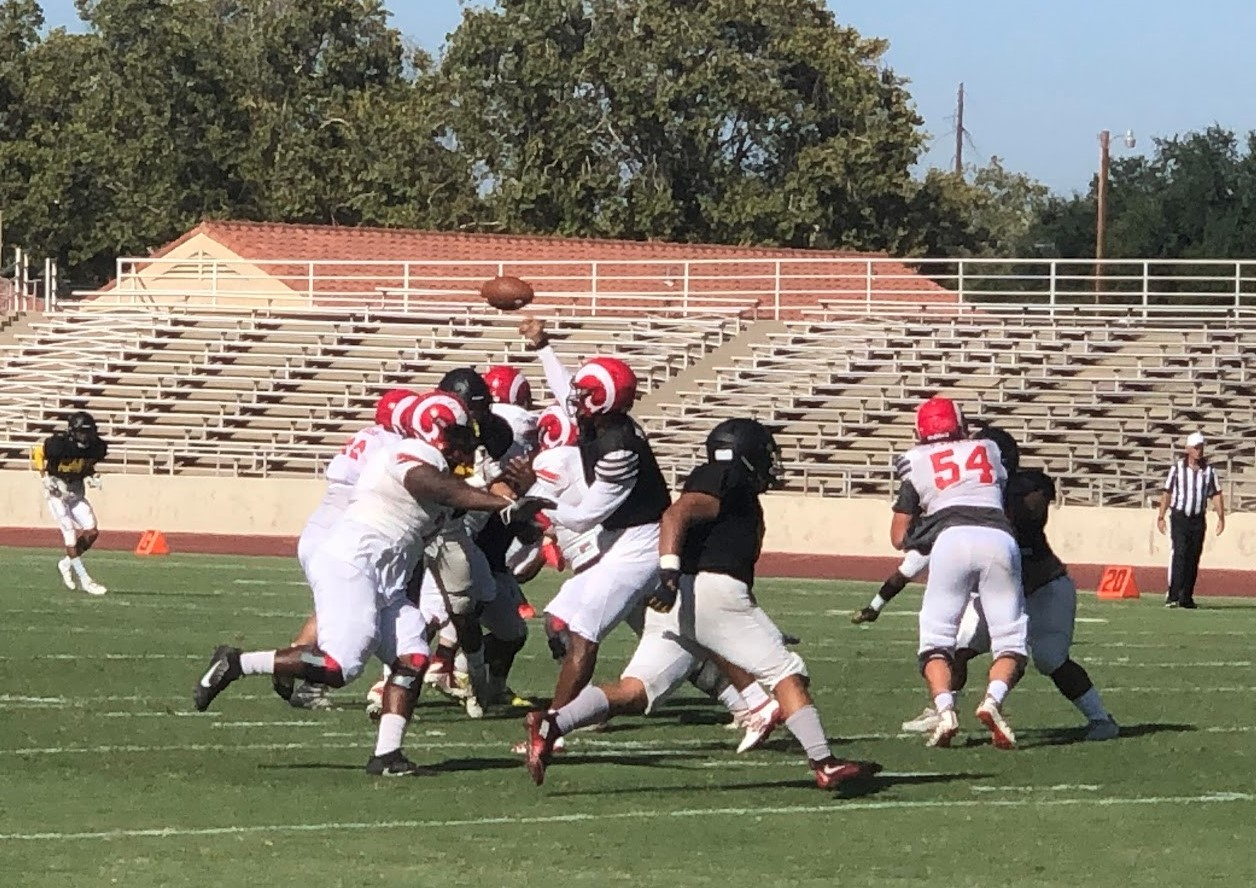 FCC and Chabot met in their preseason scrimmage on Aug. 29, 2019. The Rams will open their regular season home schedule at Ratcliff Stadium against Siskiyous on Sept. 14, 2019.