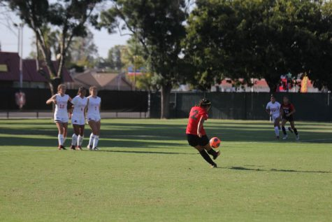 Freshman forward Itzel Rodriguez scores on a free kick in the 55th minute during the Rams' Aug. 23, 2019 match against Las Positas. The Rams came away with a 1-0 win in their first matchup of the season.