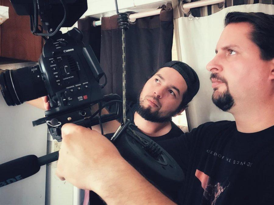 Fernando Galarza, left, and Mark Ross, right, set up a shot. Photo courtesy of Dead Film Society.