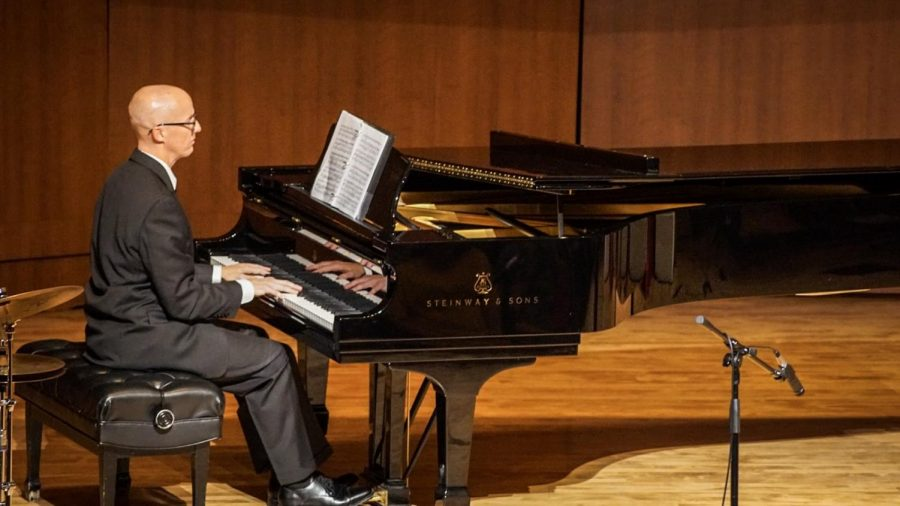 Piano Accompanist Aarne Kela plays a piece at the FCC Music Faculty Concert on Saturday, Sept. 21.