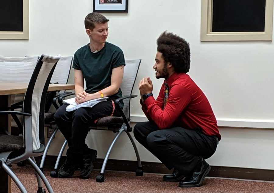 DeRon Walker, right, is the new ASG president. Here he is at a meeting to discuss the need for all gender bathrooms on campus, on Tuesday, Sept. 3, 2019.