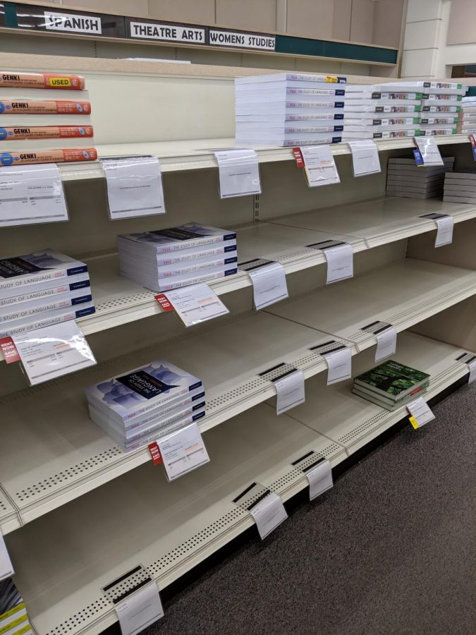 Students dealt with empty shelves well into the semester, Sept. 24, 2019.