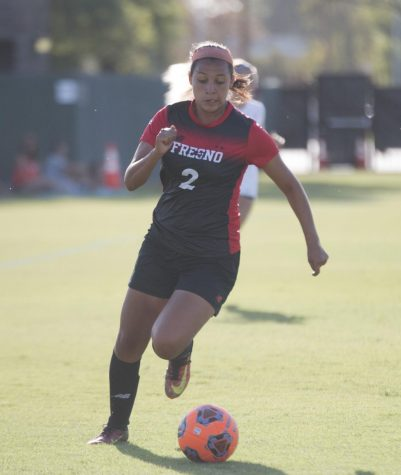 Rams' Freshman forward Itzel Rodriguez directs the ball up the field during the Rams' 1-0 win over Bakersfield College on Sept. 10, 2019.
