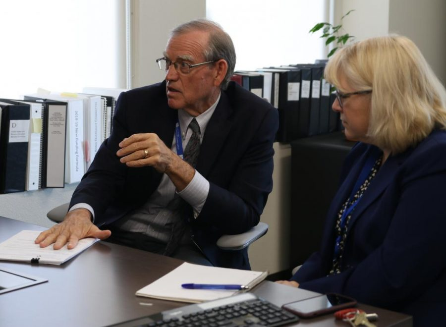 SCCCD District Chancellor Paul Parnell, left, and Vice Chancellor of Finance and Administration Cheryl Sullivan, right, sit down with Rampage reporters to discuss the status of the Fresno City College community after the privatization of the bookstore on Sept. 20, 2019.