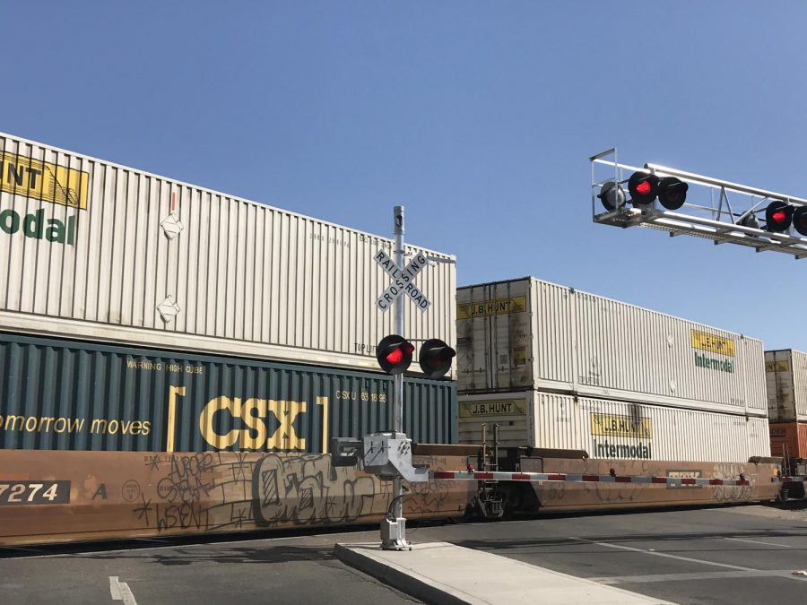 A+BNSF+train+sits+idle+on+the+crossing+at+McKinley+Avenue+following+a+fatal+collision+with+a+pedestrian+on+Friday%2C+Oct.+2019.
