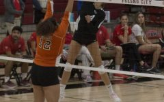 Sophomore pin hitter Julie Castleman goes up for the kill during the Rams' dominant 3-0 set victory over the Reedley Tigers on Oct. 2, 2019. The Rams have now won 117 consecutive conference matches, and will go for their 118th on Wednesday when they take on the Porterville Pirates at 6 p.m. at the FCC gymnasium.