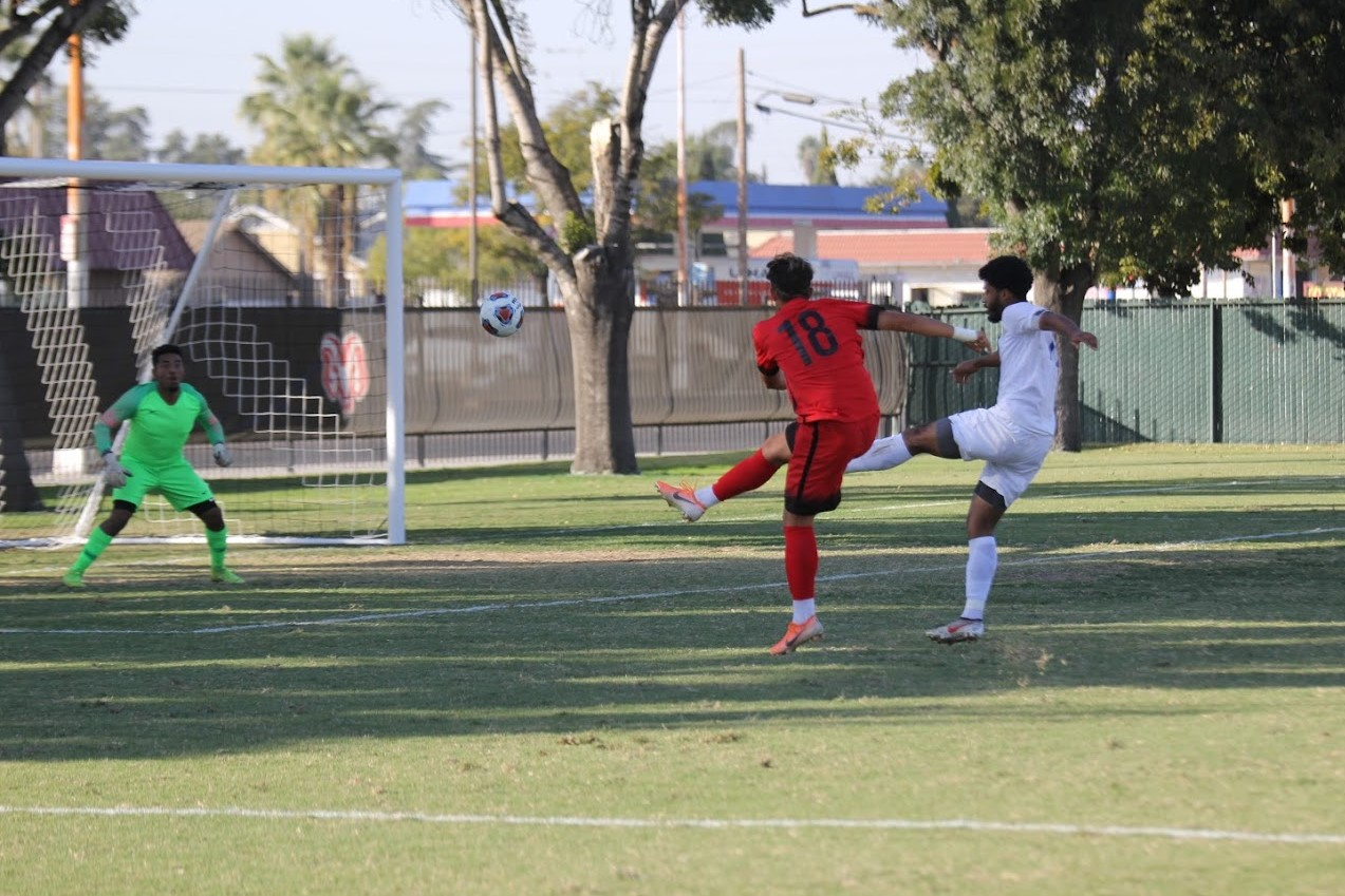 Freshman midfielder Sebastian Caballero fires one towards the net during the Rams' narrow 3-2 win over the Modesto Junior College Pirates on Oct. 15, 2019. The win marked the Rams' seventh straight victory.