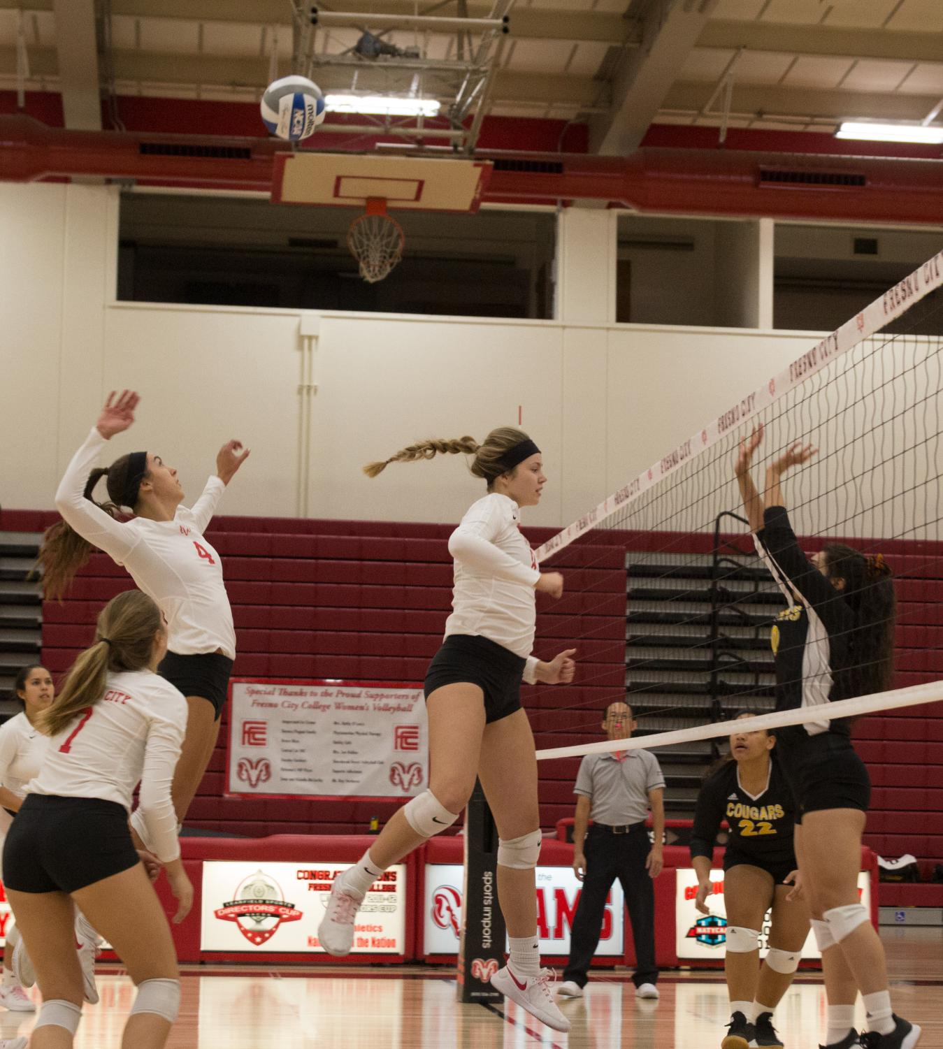 Sophomore pin hitter Julie Castleman (#4) goes up for the kill during the Rams' 3-0 set sweep over the Taft College Cougars on Friday, Oct. 18, 2019.