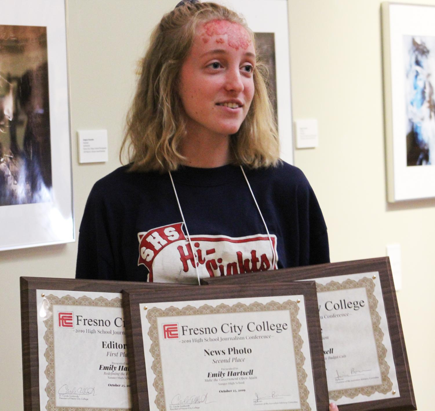 Emily Hartsell takes home three writing awards from the 2019 High School Journalism Day conference. Emily won first place for editorial writing, second place for news story, and an honorable mention for the feature writing category. This was the first year awards were given based on submitted work from high school students.