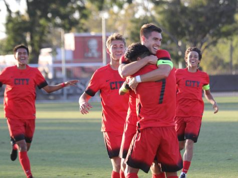 Fresno City College sophomore forwards Mason Gonzalez and Eduardo Segura celebrate after Segura's first goal in their match against Folsom Lake College on Friday, Oct. 25.