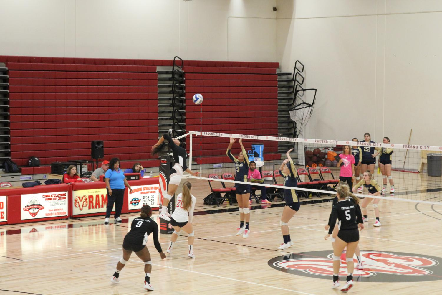 Sophomore pin hitter Marina Gonzalez goes up for the kill against the West Hills  Lemoore Golden Eagles during their 3-0 set win on Friday Oct. 25, 2019. The win marked the 123rd consecutive conference victory for the Rams