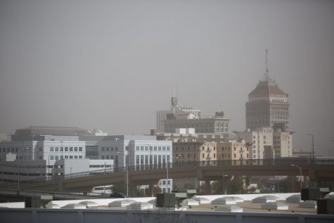 Blazing wildfires tarnished the Central Valley skyline even more than usual on Sunday, Oct. 27, 2019. Brown skies congested the air above all of Fresno, causing worry for groups sensitive to poor air quality.