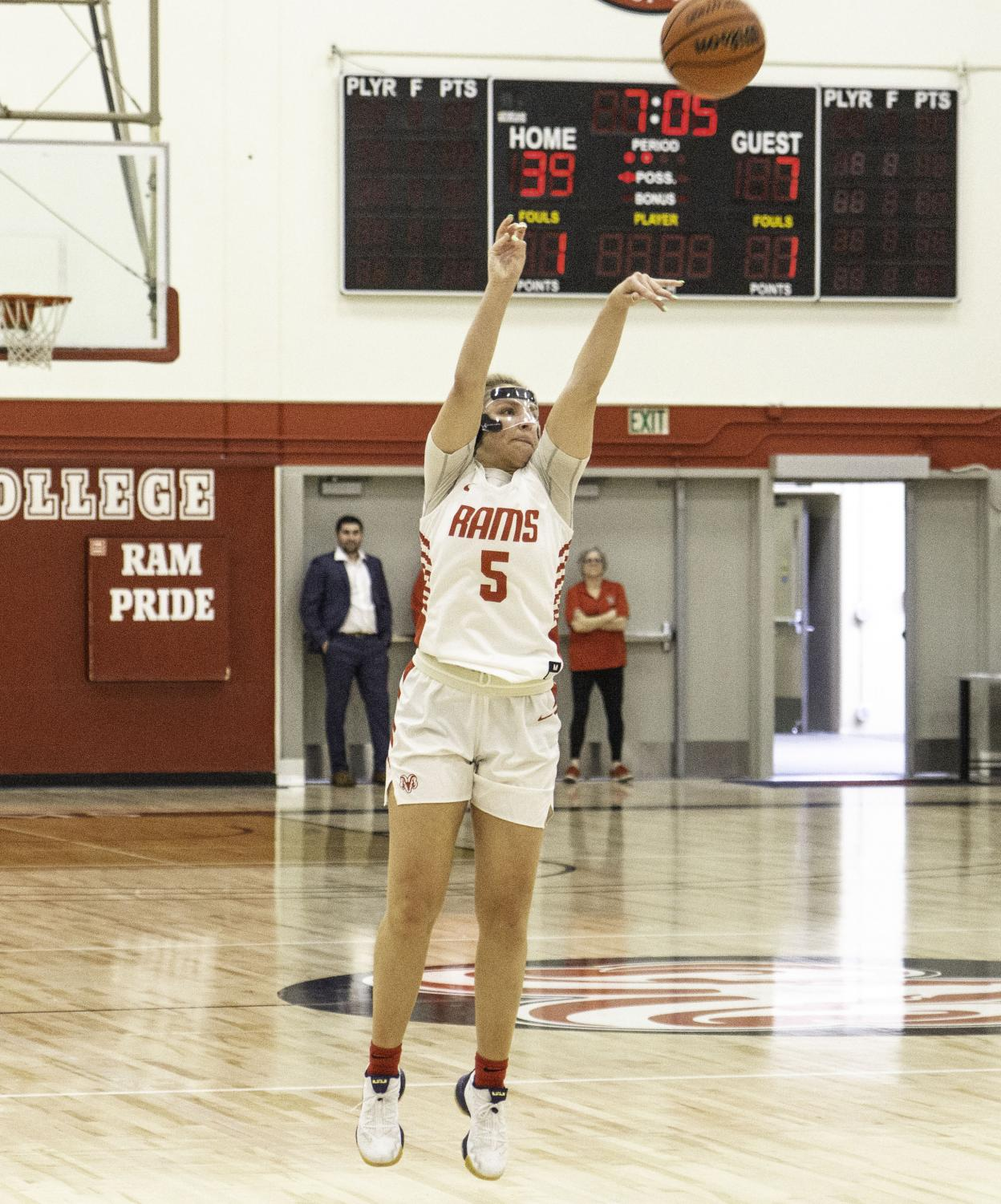 Sophomore guard Jordyn Brown puts up a three during the Rams' game against Porterville College on Saturday, Jan. 18, 2020. Brown finished the night leading all scorers with 33 points, going six for seven from three-point range.
