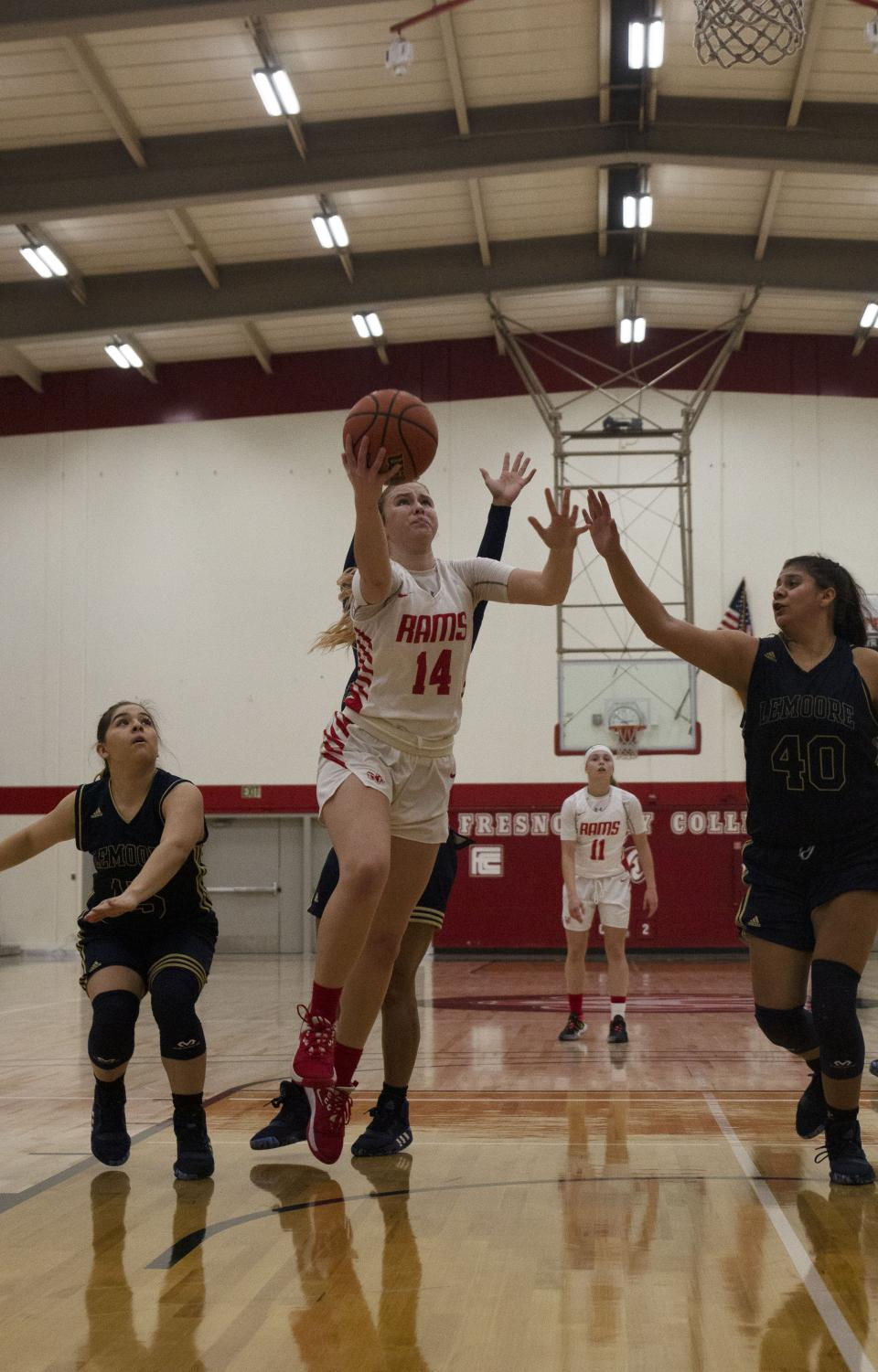 Rams' sophomore guard Shay Gibbons goes in for a shot during the Rams' Jan. 22 game against West Hills Lemoore.