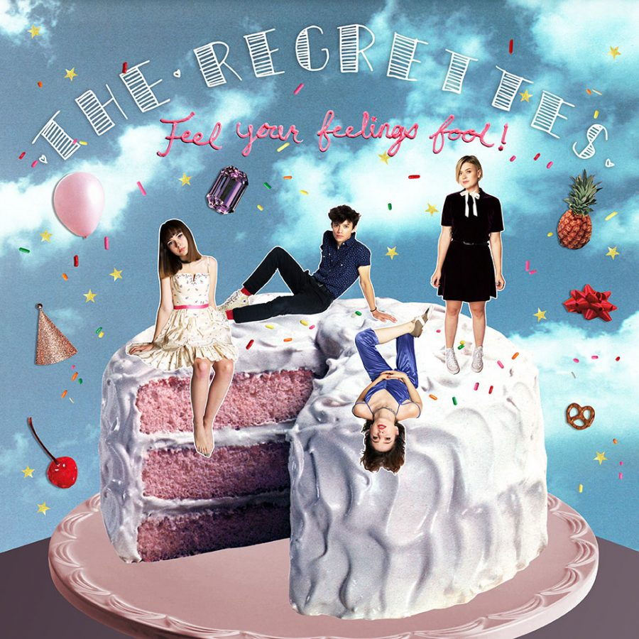 The+Regrettes%27+album+cover+for+%22Feel+Your+Feelings+Fool%22+is+evocative+of+the+zine+aesthetic+surrounding+the+Riot+Grrrl+movement.
