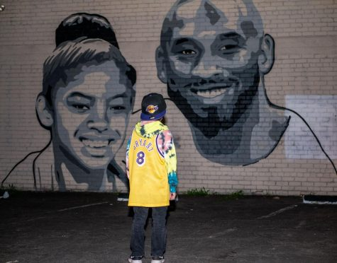 Jordan Lazo pays his respects to his role model, the late Kobe Bryant, Friday, Jan.31.