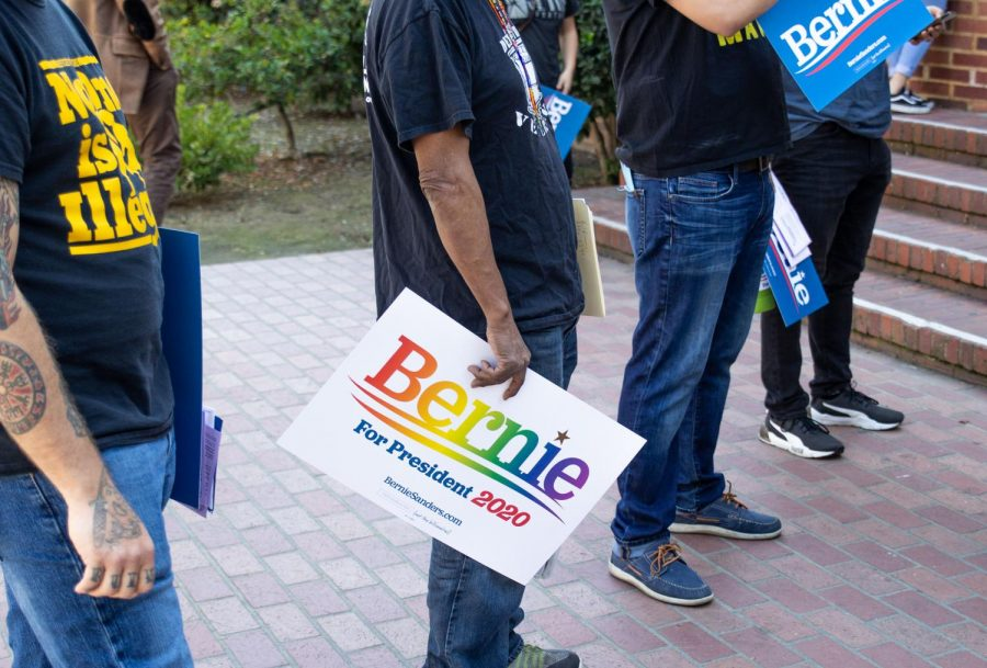 A+Bernie+Sanders+supporter+holds+a+rainbow+%22Bernie+for+President+2020%22+sign+while+attending+the+%22March+to+the+Polls%22+event+held+at+Fresno+City+College+on+Monday%2C+March+2.