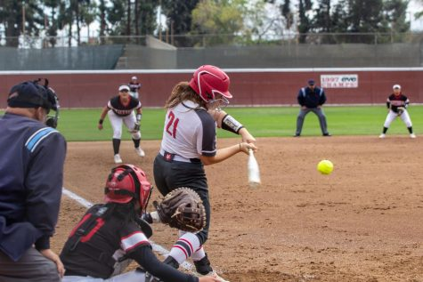 Freshman third baseman Mary Mets during an at-bat in the first game of a doubleheader against Porterville College on Tuesday, March 10. Nets has been an influential player at the top if the Rams' lineup.