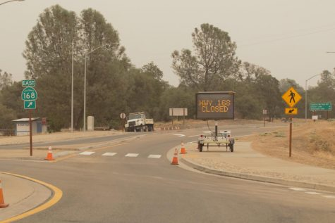 Highway 168 remains closed at the roundabout in Prather due to the Creek Fire - California's largest recorded single wildfire. Photo taken on Sept. 11, 2020.