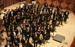 The FCC Wind Ensemble poses for a shot at the Shaghoian Performing Arts Center in October 2019. Photo courtesy of Elisha Wilson