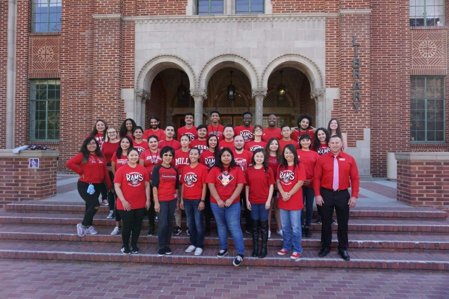 Student Activities' staff and student workers pose in front of the Fresno City College library prior to the pandemic.  Photo courtesy: Student Activities' Facebook page.