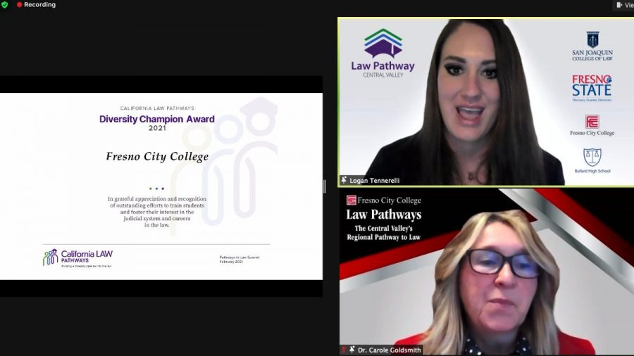 Fresno City College President Carole Goldsmith and Dean of San Joaquin College of Law, Logan Tennerelli accepted the Diversity Champion Award on Friday Feb. 19, 2021. Photo courtesy: California LAW Pathway's Twitter page