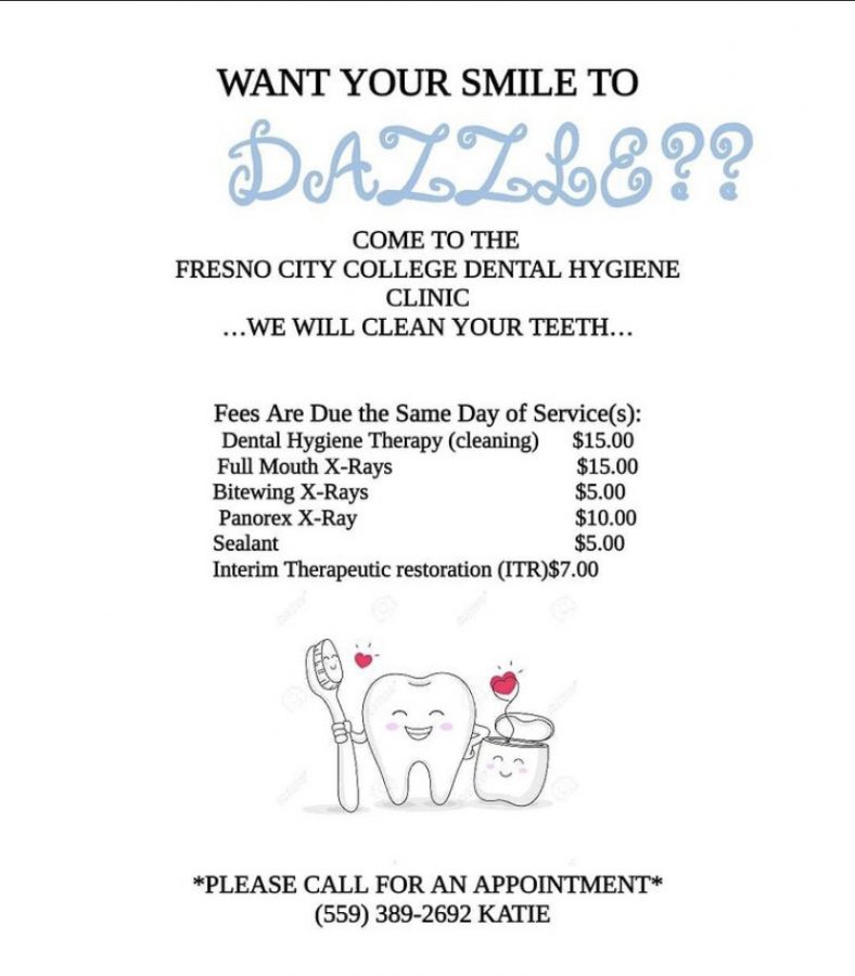 List of services available at Fresno City College's dental hygiene clinic.  Photo courtesy: FCC's CalWORKs' Instagram page