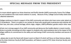 Fresno City College's President Carole Goldsmith has issued a statement regarding the increase of hate crimes against the Asian and Pacific Islander community.