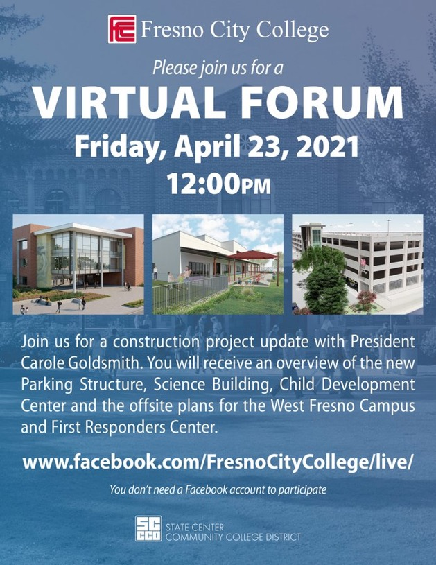 Flyer announcing Fresno City College's virtual forum to give updates on construction projects.