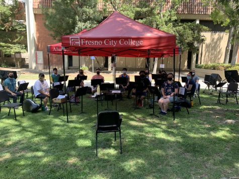 Fresno City Colleges concert band practices outside for students safety during the on-going pandemic. Photo courtesy: Elisha Wells