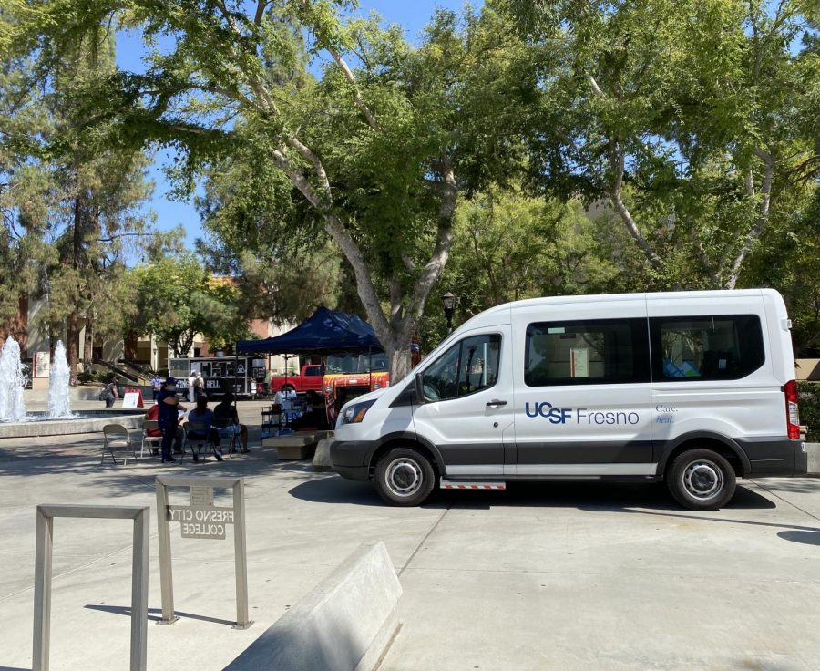 UCSF Fresnos mobile unit was parked near FCCs main fountain as staff administered vaccines to students on Tuesday Aug. 10.
