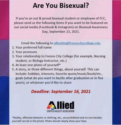 Flyer detailing the Bisexual Awareness Day social media project. Photo courtesy: Allied Staff and Faculty Associations Instagram page