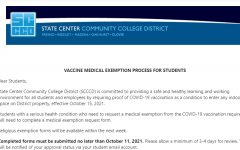 Screenshot of Sept. 16 email from the SCCCD notifying students of the process to obtain and submit medical exemption forms.