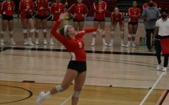 Lexi Pagani serving the ball at the FCC vs. Reedley game on Sept. 22