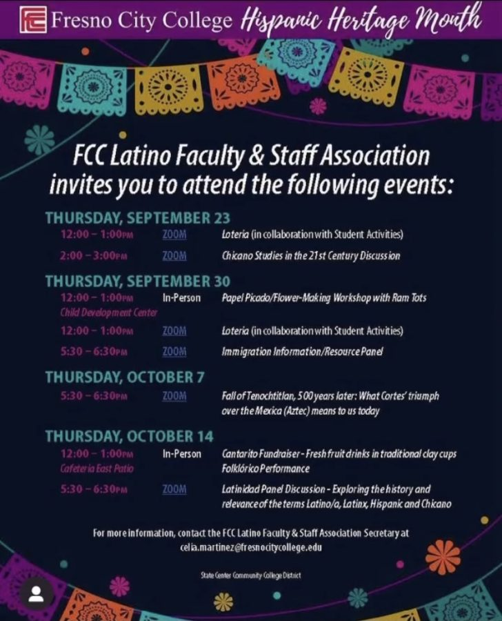 Flyer detailing events hosted by FCCs Latino Faculty and Staff Association during Hispanic Heritage Month. Image / LFSA Instagram page