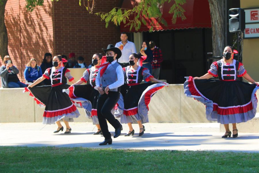 Some students of Fresno City College's folklorico dance course performed during the Latino Faculty and Staff Association's Cantarito Fundraiser on Oct. 14, 2021.